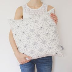 NEW! White Geometric Decorative Pillow Cover / Geometric Cushion Cover / Scandinavian Pillow / Black and White Pillow / Modern Pillow