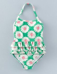 Baby Boden Ruffle Swimsuit Meadow Green Daisy Girls Boden, Add a bit of pretty retro charm to your seaside suitcase with this fast-drying, stretch-nylon swimsuit. This fabric provides UPF 50  protection. http://www.MightGet.com/april-2017-1/baby-boden-ruffle-swimsuit-meadow-green-daisy-girls-boden-.asp