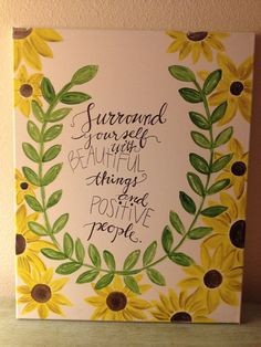 Wildflowers with Surround yourself Calligraphy Art by ACsAcrylics, $40.00