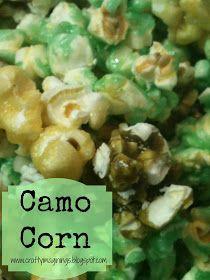 put caramel corn in green Mason jars as party favor