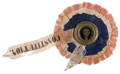 Civil War cockade with ferrotype of George Washington.