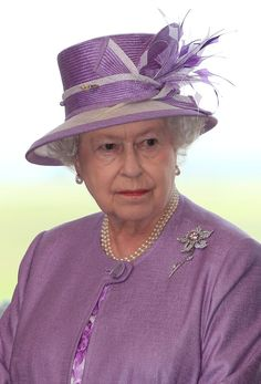 The Queen during the 2010 Royal Tour of Canada, in Winnipeg. She is wearing the Williamson Pink Diamond brooch. (Dr Williamson was a Canadian by birth)