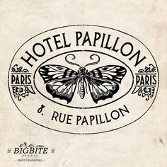 Water Decal Print transfer to furniture, wood or paper – Vintage French Advert: Hotel Papillon by BigBiteStudio on Etsy Shabby Chic Nest Of Tables, Shabby Chic Stencils, Perfumes Vintage, This Is Water, Foto Transfer, Water Slides, Vintage Labels, Step By Step Instructions, French Vintage