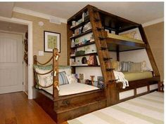 Awesome Space Saving Kids Bedroom Design Featuring Perfect Wooden Bunk Beds With Unique Black Metal Stairs And Bookshelves On The Left Side, Best Of Coolest Modern Kid Beds: Bedroom, Furniture, Interior, Kids Room Furniture, Room, House, Bed Design, Home, Cool Bunk Beds, Awesome Bedrooms, Cool Beds, Bed