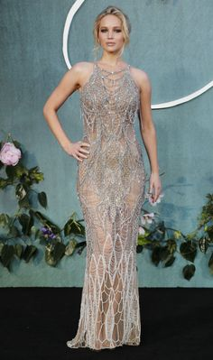 Jennifer Lawrence's glittery fishnet Atelier Versace dress