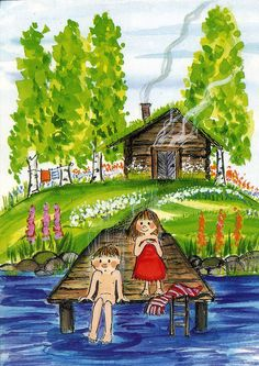Postcard travelled 132 km miles) in 4 days (from Finland to Finland): Traditional finnish activity. from the sauna to the lake! Lake Art, Painting For Kids, Children Painting, Whimsical Art, Cute Illustration, Illustrations, Pretty Pictures, Saunas, Summertime