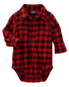 Baby Boy Buffalo Check Button-Front Bodysuit from OshKosh B'gosh. Shop clothing…