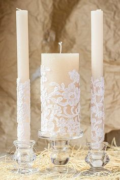Caramel & lace wedding unity candles, rustic chic wedding, vintage chic, rustic wedding ideas, country wedding, vintage candle set, 3pcs #floatingunitycandle