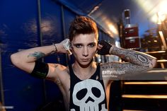 Andy Biersack of Black Veil Brides backstage at the Soundwave Music Festival at the Flemington Race Course on the 28th of February 2014 in Melbourne, Australia.