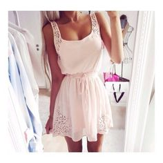 Dress: white lace glitter babypink skater pink cute pink girly tumblr perfect sun girl pale pink