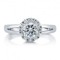Cubic Zirconia CZ 925 Silver Halo Floral Split Shank Ring 0.84 Ct at Berricle.com