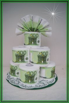 Money Cake, Useful Life Hacks, Little Things, Craft Gifts, 100 Euro, Wedding Gifts, Etsy, Birthday, Desserts