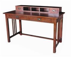So excited for my new desk to arrive! Lots of good story writing and photo editing to happen here. Mission Style Solid Wood Writing Desk w Hutch in Walnut Stain