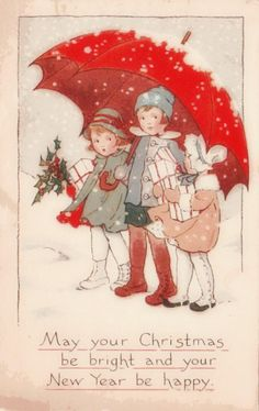 Vintage Christmas Card --- do you think the Morton's Salt label might have come from this?!
