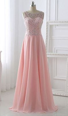 Pretty Long Prom Dresses,Pink Chiffon Beading Prom Dresses,Simple A-line Prom Dresses,Evening Dresses,Prom Dress