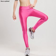 50d44694e1e32 2017 Spring V High Waist Candy Colors Neon Sportswear Workout Leggings Women  Pants Fashion Jegging Elastic Strtched Shiny Pants