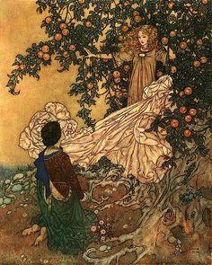 The Garden of Paradise - Fairy of the Garden garment (1911), Stories from Hans Andersen - Edmund Dulac, illustrator