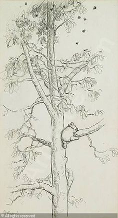 All for honey...Winnie-the-Pooh in a tree (1926) by A.A. Milne, illustration by E.H. Shepard