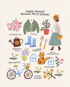 Tante S!fr@ loves this pin These things remind me of spring :) How about you? I hope you get a good feeling like the sunshine in spring when you see this ❤ . 여러분은 봄! Illustration Inspiration, Cute Illustration, Poster S, Jolie Photo, Graphic, Art Inspo, Art Drawings, Doodles, Artsy