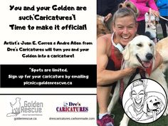 The 29th Annual Golden Rescue Picnic, sponsored by GoodLife Fitness is less than a month away! Dre's Carciatures will be on-site at the scenic Viamede Resort to create a caricatures of you and your Golden! Spots are limited, so reserve yours today by emailing picnic@goldenrescue.ca  #goldenrescue #rescuedog #adoptdontshop Caricatures, Rescue Dogs, Life Is Good, Picnic, Create, Fitness, Life Is Beautiful, Picnics, Caricature