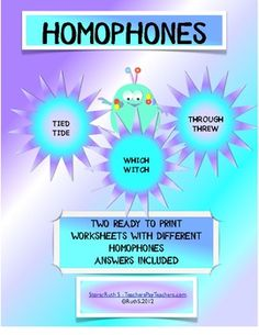 HOMOPHONES These homophone worksheets can be used for homework, a class activity or an assessment. Students often confuse these words, s. Teaching Language Arts, Classroom Language, Teaching Reading, Teaching Kids, Reading Resources, Homeschool Worksheets, Homeschooling, Fun Classroom Activities, Classroom Ideas