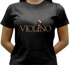 Camiseta estampada com a palavra e a voluta do violino