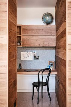 Timber clad home office space. Home Office Space, Home Office Design, Modern Family, Home And Family, Clad Home, Timber Table, Level Homes, Australian Homes, Modern Industrial