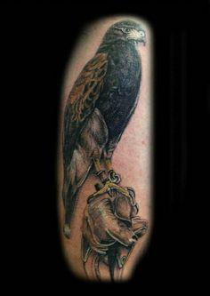 Harris Hawk bird glove tattoo by Ray Tutty Bird Of Prey Tattoo, Hawk Tattoo, Tattoo You, New Tattoos, Tatoos, Pretty Cool, How To Look Pretty, Harris Hawk, Explore Tattoo