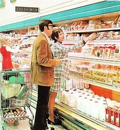 Grocery shopping 1972.  Wow...much different from the sweats and tank top that I wear to the store.  I don't know if I would have survived!