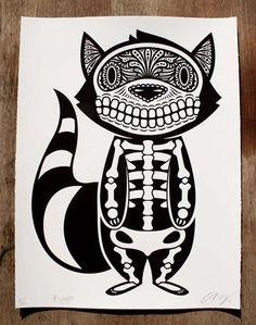 """Raccoon of the Dead"" Art Print by Ernesto Yerena - OMG Posters! Illustration Photo, Illustrations, Omg Posters, Street Art, Day Of The Dead Art, Sugar Skull Art, Sugar Skulls, Racoon, Mexican Art"