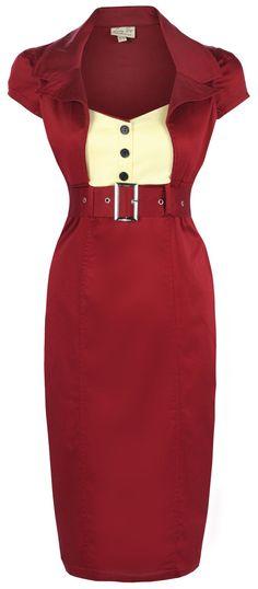 Lindy Bop 'Wynona' Chic Vintage 1950's Secretary Style Pencil Wiggle Dress (2XL, Wine)