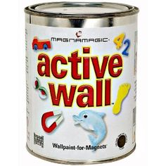 Turn any wall into a magnet attracting space! E-Z & innovative solution to transform the walls of your home or office into a fun, creative magnetic receptive surface. It rolls on to any flat surface with ease, just like regular paint. Child-safe and non-toxic/non-hazardous and low VOC.  Pale gray finish and easy to topcoat for vivid color or top with chalk board paint found here: http://www.hardwareworld.com/Chalkboard-PaintTintable--One-Quart-pKZQZPX.aspx