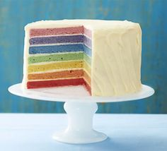 Rainbow cake recipe - Recipes - BBC Good Food Looks fabulous as long as you use good paste colours (expensive). Add some flavouring to the cake layers. Rainbow Food, Rainbow Cakes, Ombre Cake, Cupcakes, Rainbow Birthday, Birthday Cake, Colorful Cakes, Bbc Good Food Recipes, Celebration Cakes