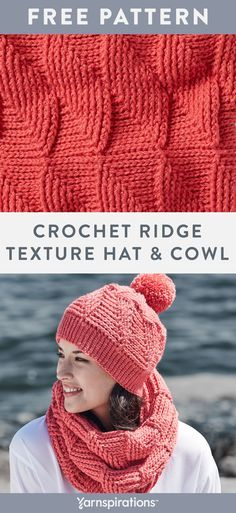 Free crochet pattern using Red Heart Heat Wave yarn. Free Crochet Ridge Textured Hat and Cowl Set pattern. We've designed this set in one shade to rea. Crochet Cowl Free Pattern, Free Crochet, Knitting Patterns, Hat Patterns, How To Start Crochet, Crochet Hats For Boys, Hat And Scarf Sets, Christmas Crochet Patterns, Crochet Scarves