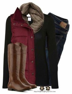 Red Vest, Taupe knit scarf & Riding boots Best Picture For club outfits classy For Your Taste You ar Mode Outfits, Casual Outfits, Fashion Outfits, Womens Fashion, Fashion Trends, Latest Fashion, Fashion Vest, Fashion Scarves, Fashion 2017