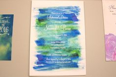 Blue and green brushstrokes on a flat-printed design from Tag & Company offer a summery feel. Wilton House, Harrisonburg Virginia, Brush Strokes, Event Planning, Blue Green, Print Design, Wedding Invitations, Events, Flat
