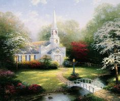 Beautiful church , not sure if this is a Thomas Kin kade Painting :) But It Looks Like One , Beautiful :)