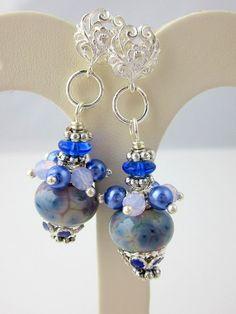 Blue Dangle Earrings Lampwork Earrings Cluster by ramonahall, $45.00