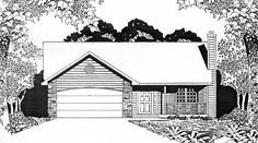 House Plan 62508 | Ranch    Plan with 1075 Sq. Ft., 2 Bedrooms, 2 Bathrooms, 2 Car Garage