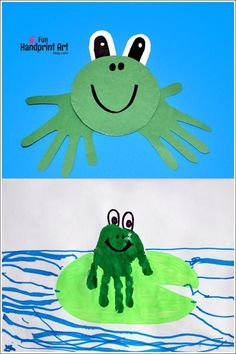 Handprint Frog Crafts for Kids Here is an easy to make recycled cd frog craft that can be made in less than 10 minutes! Kids will love making this adorable handprint frog. Frog Crafts Preschool, Kids Crafts, Animal Crafts For Kids, Daycare Crafts, Classroom Crafts, Baby Crafts, Toddler Crafts, Art For Kids, Arts And Crafts