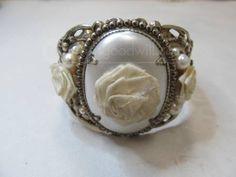 Vintage Romantic Rose Hinged Bracelet