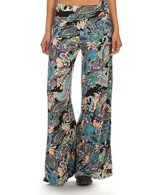 This Lady's World Turquoise & Black Paisley Palazzo Pants - Plus Too by Lady's World is perfect! #zulilyfinds