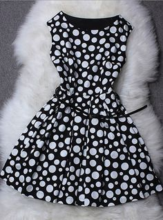 Polka Dot Printed Sleeveless Dress