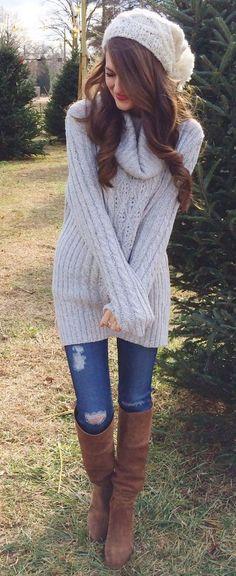Estos outfits para el fr�o est�n a la moda este invierno.    Outfits casuales juvenil invierno | Moda femenina invierno | Bufandas y Su�teres para el fr�o. | #outfits #invierno
