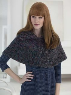 This Split Collar Capelet made with Homespun yarn is great for when you don't feel like wearing a coat.