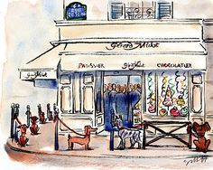 Does your pet want to go to Paris? This is 'London' visiting Paris. Madge and Mollie in Paris ensemble/ together. Louis Roederer, Ile Saint Louis, Cityscape Art, Elderly Home, Art Sketchbook, Watercolor Illustration, Artist Art, Cute Drawings, Cute Wallpapers