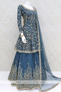 Peacock blue lehenga choli from palkhi fashion beautify with thread weaving & stonework. Matching long top enriched with silk weaving, petite stonework Party Wear Indian Dresses, Pakistani Fashion Party Wear, Indian Gowns Dresses, Indian Fashion Dresses, Pakistani Dress Design, Indian Designer Outfits, Designer Dresses, Wedding Dresses, Sharara Designs