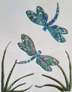 Dance of the Dragonflies. Quilled Dragonflies by Mainely Quilling.  #quilling #dragonfly #insect