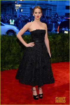 Jennifer Lawrence in Christian Dior dress, Brian Atwood shoes - At the 2013 Met Gala in New York City.  (May 2013)