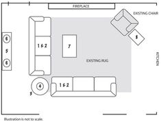 Furniture Floorplan - something like this might work after we tear out the built in bookshelf